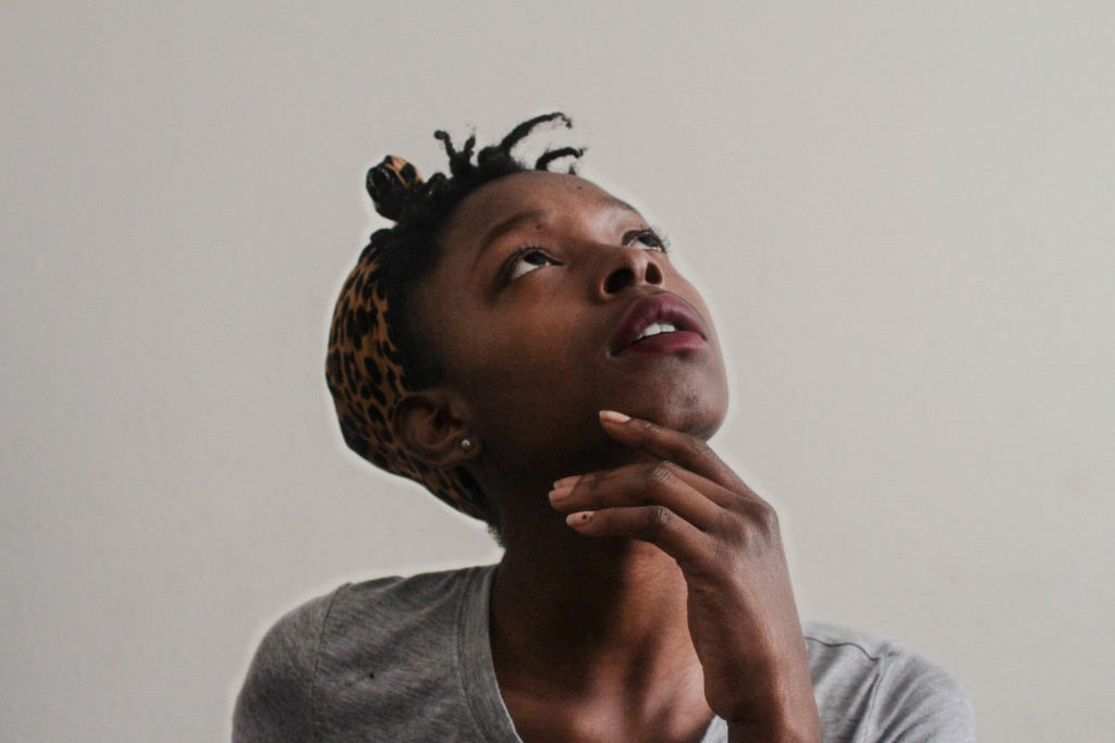 a woman looks up, questioning