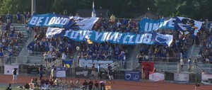 Photo of stadium banners at a GRFC game.