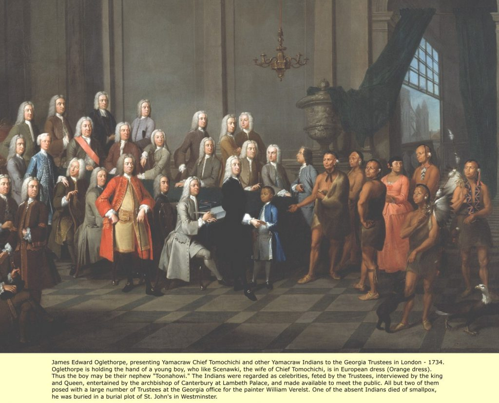 Painting by William Verelst of Chief Tomochichi and a delegation of Native Americans with James Oglethorpe and the Georgia Trustees, London, 1734.