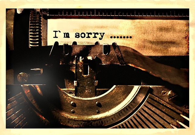 "The words ""I'm sorry"" have been typed on paper in a typewriter"