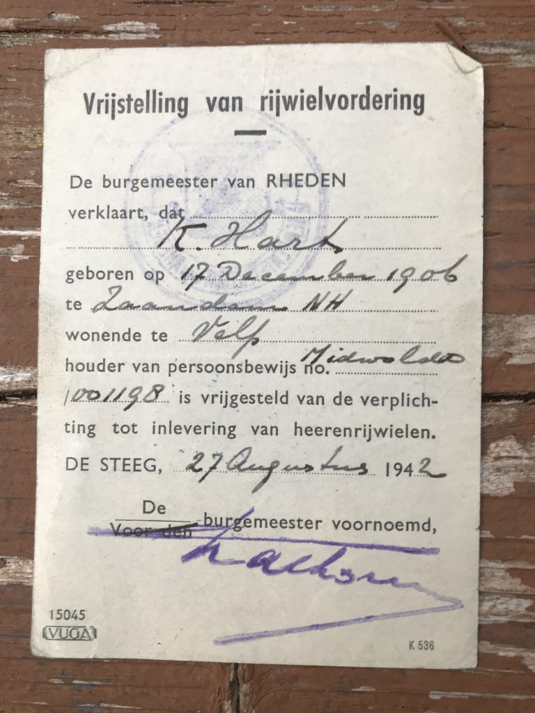 Permission for K. Hart to keep his bicycle. August 27, 1942, Velp. Dutch.