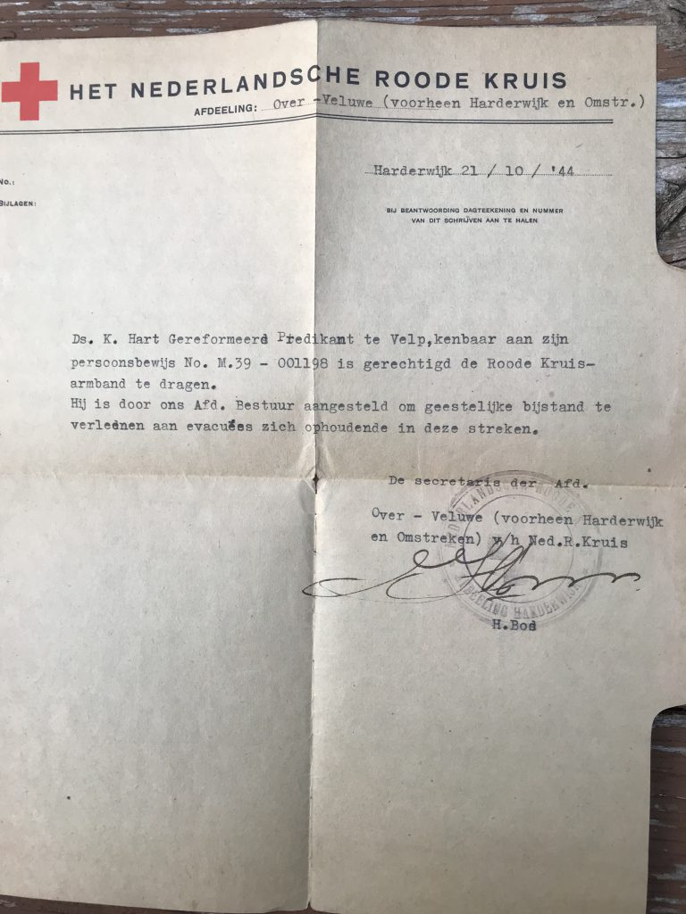 "Appointment from the Red Cross to ""provide spiritual assistance to evacuees in these areas."" October 21, 1944. Dutch."