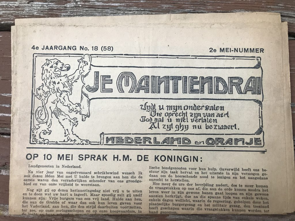 A different resistance/underground newspaper: Je Maintiendrai.