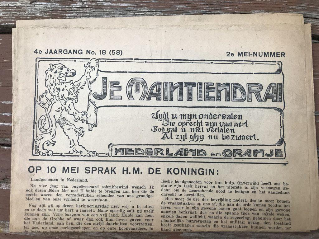 A different resistance/underground newspaper: Je Maintiendrai.