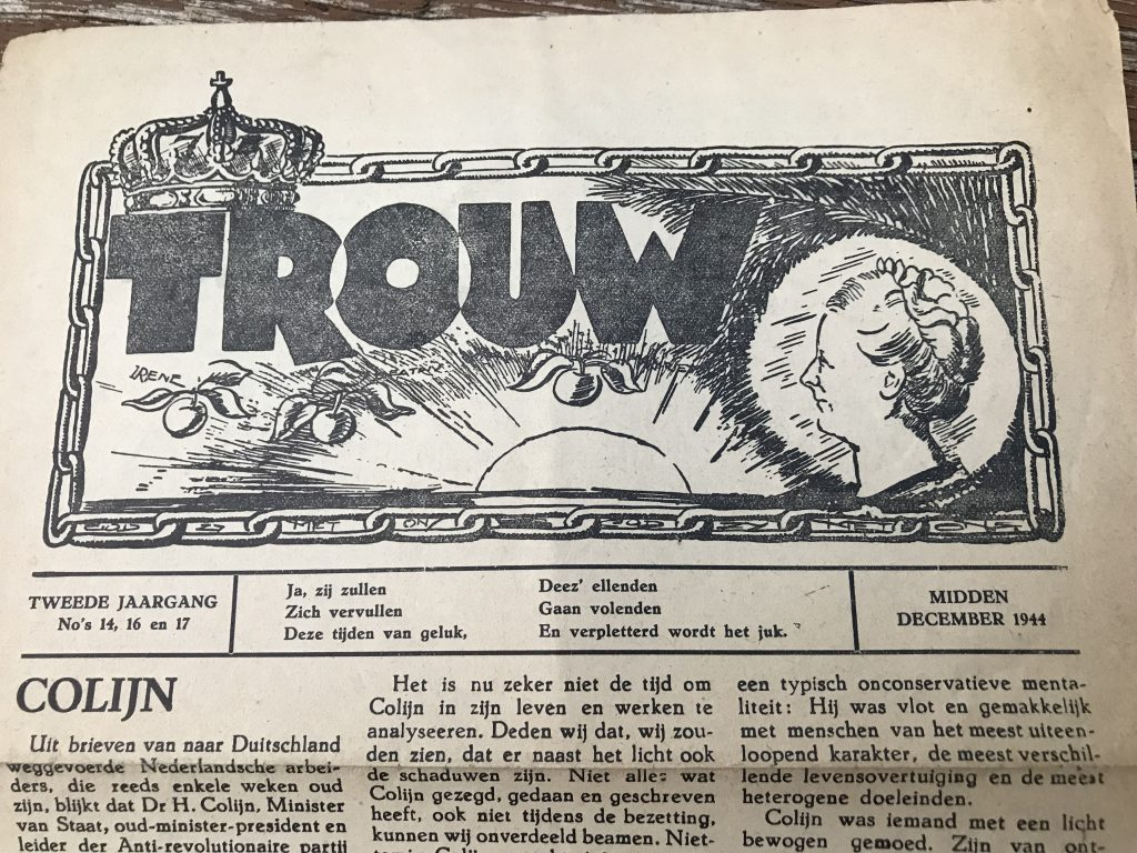 A later edition of Trouw, the underground newspaper. December 1944.