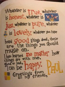 An image of Paul's advice to think about things that are pure, lovely, and good.