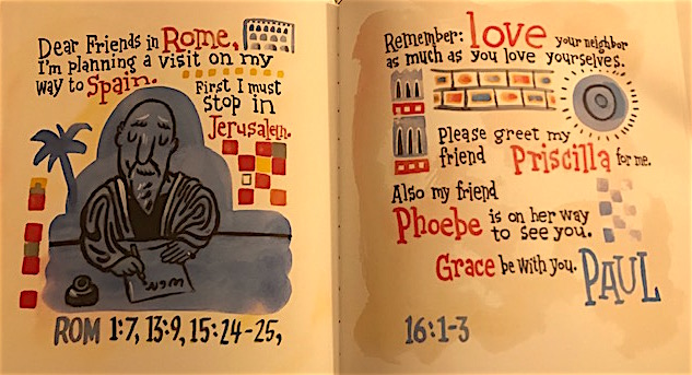 An image of the two-page spread of Paul's letter to the Romans.
