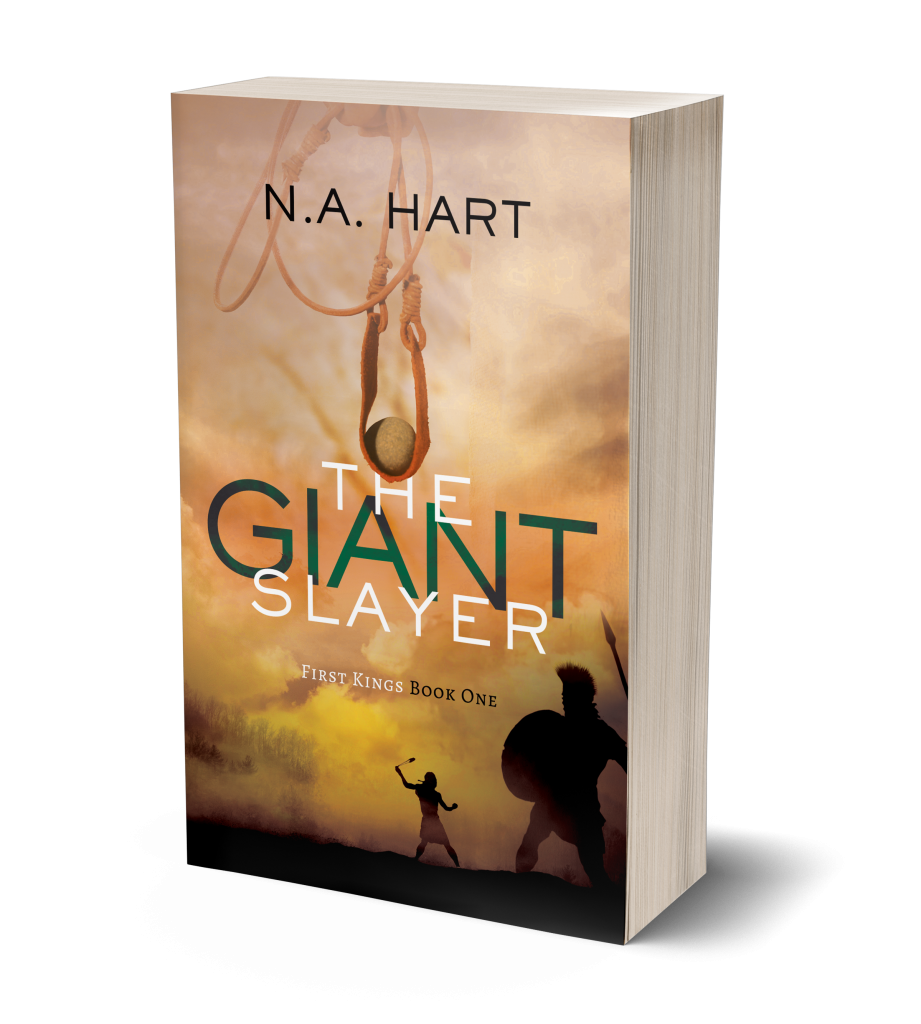 A 3-d rendering of the book cover of The Giant Slayer.