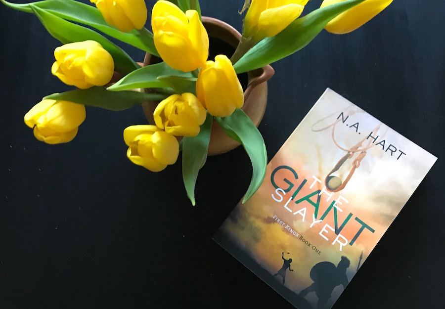 A bouquet of tulips and the book The Giant Slayer on a black table.
